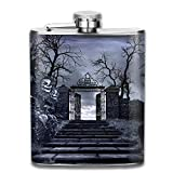 Horror Scenery With Stairs Old Gateway And Creepy Sunflowers New Brand 304 Stainless Steel Flask 7oz