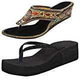Thari Choice Women's Multicolor Synthetic Sandal(39(Combo Of 2)) at amazon