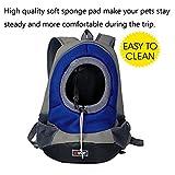 AsiaLONG Hundetasche Rucksack Atmungsaktive Haustier Rucksäcke mit Straps Netzfenster Hundetragetaschen für Kleine Hunde und Mittelgrosse Hunde Reise Umhängetasche (S, Blau) - 6