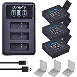DuraPro Sj4000 Akku + LED 3 Slots USB Ladegerät für SJCAM Sj4000 Sj5000 Sj7000 Sj5000 Sj6000 Sj8000 SJ M10 Kamera, 3 Stück