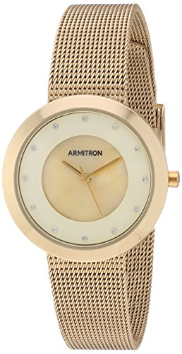 Armitron Women's 75/5454CMGP Swarovski Crystal Accented Gold-Tone Mesh Bracelet Watch