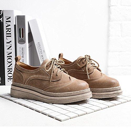 JRenok Brogues Derbies Femme Loisir Chaussures de Ville à Lacets Walking Baskets Gommage Cuir Casual Mode Antidérapantes 35-39 Beige