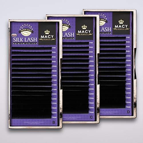 Extension de Cils Set 3 X Cil Unité Cils en Soie Cils en Soie B C D Macy - 0.20mm B.C.D Biegung