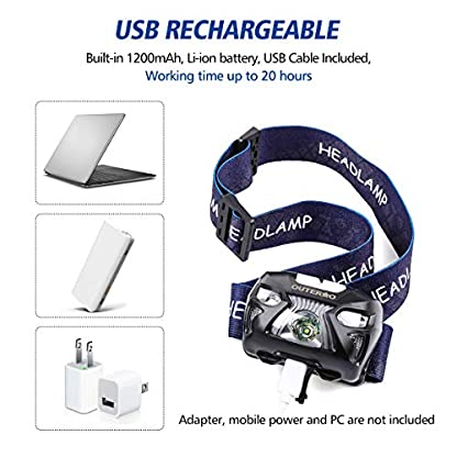 Head Torch,OUTERDO Sensor Headlamp (210LM 6 MODES) Head Lights LED USB Rechargeable with Super Bright White Light & Warn Red Light for Reading, Working, Camping, Walking, Waterproof Gesture sensing 7