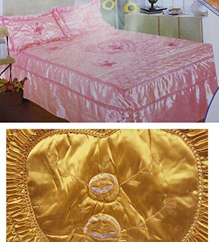 Gesteppter Satin 2 Rüschen, Gold, Sofüberwurf, Überwurf, Tagesdecke mit Volant, Für Einzelbett - Gold Rüschen