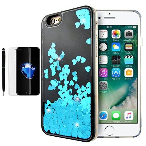 iPhoen 8 Hülle, Fraelc iPhone 7 Schutzhülle Transparent Weich Silikon Rahmen Bling Glänzend Glitzer Liebes Herz Fließen Flüssig Flüssigkeit Hardcase Backcover für iPhone 7 / iPhone 8 (4,7 Zoll) - Rosa Blau