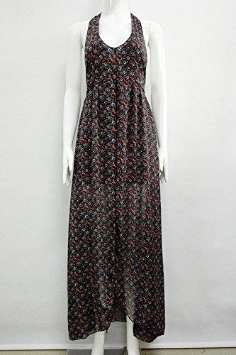 Floral ärmellos V-Ausschnitt rückenfreie Strandkleid für Damen 03