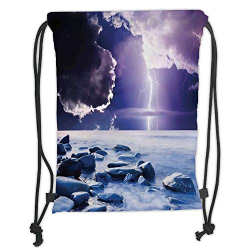 Icndpshorts Lake House Decor,Dark Ominous Rain Clouds with Mystic Sky  Scenery with Electrical Lightning Photo,Blue Purple Soft Satin,5 Liter