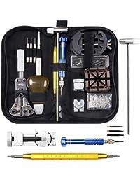 ELECTRAPICK Uhrenwerkzeug Set Uhr Reparatur Uhrmacherwerkzeug Batteriewechsel Stiftausdrücker Gehäuseöffner in Schwarze Aufbewahrungstasche