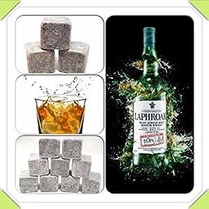 Pierres de glace Whisky boit roches scotch refroidisseur cubes de whisky (9 pierres dans une poche) (stéatite)