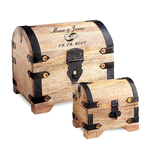 Casa Vivente – Set zur Hochzeit – Große Holzschatztruhe mit Gravur – Motiv: Ringe – Personalisiert mit [Namen] und [Datum] – kleines Schmuckkästchen – Dunkles Holz – Verpackung für Geldgeschenke (Schatz-truhe-aufbewahrungsbox)