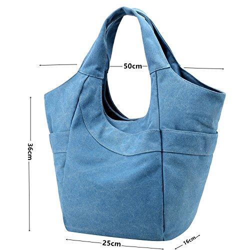 PB-SOAR Damen Canvas Shopper Schultertasche Handtasche Henkeltasche Hobo Bag Schulterbeutel Wickeltasche (Blau) Blau