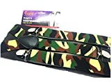 Suspenders Men Braces High Quality Wide Pattern Funky Design Birthday Gift 14 Designs (Army)