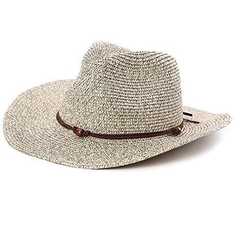 SIGGI Westernhut Cowboy Stroh Hut formbare Krempe mit Kinnriemen
