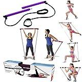 SAHWIN® Portable Gym Pilates Bar, Multi-Funzionale Canne Yoga Pull con Fascia di Resistenza for La Cassa Espansione Allenamento Fitness,Attrezzature per Il Fitness (Colore : Viola)