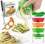 Premium 3 Klingen Spiralschneider Hand für Gemüsespaghetti kartoffel - mit BÜNDEL Kochbuch und enthält die Bürste für die Reinigung - FabQuality Zucchini Spargelschäler, Gurkenschneider, Gurkenschäler, Möhrenreibe Möhrenschäler, Gemüsehobel