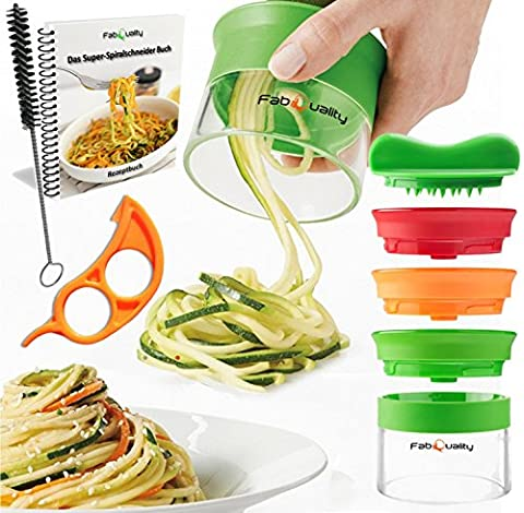FabQuality No1 Best Seller Premium Vegetable Spiralizer Slicer (3 Blades) with bundle cookbook and contains the brush for cleaning - FabQuality courgettes, cucumbers, asparagus peeler Schneider, cucumbers peelers, carrots grater carrots peelers,