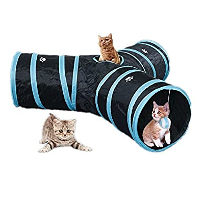 CO-Z 3-Way Collapsible Pet Toy Tube Tunnel with Ball for Cat, Rabbit, Puppy, Kitty, Kitten, Indoor or Outdoor Use