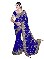 Mirchi Fashion Women's Faux Georgette Embroidered Bridal Wedding Saree (3440_Royal Blue)