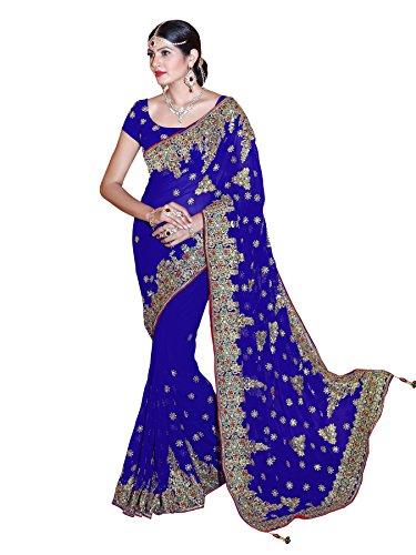 Blaue Saree (Bollywood Kleider Damen Sari mit Ungesteckt Oberteil/Top Mirchi Fashion Gedruckte saree)