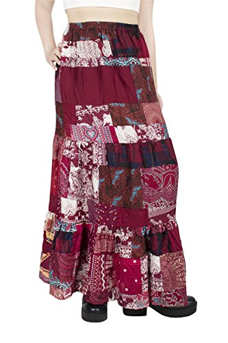 Lofbaz Women Glamorous Patchwork Bohemian Skirt - Suave y Ligera - Tela de rayón - Borgoña - OS