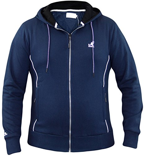 New Mens Kangol Designer Hoodie Full Zipper Sweatshirt Fleece Lined Hood Top Navy