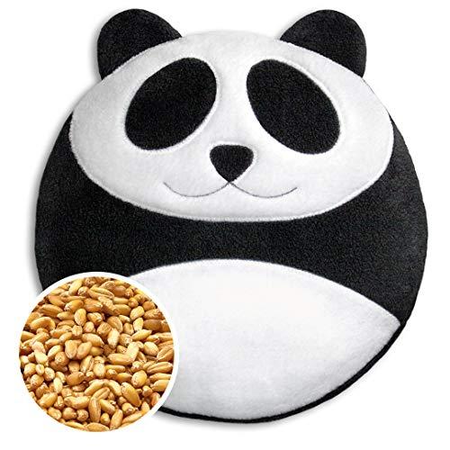 Leschi WÄRMEKISSEN lindert Rücken- und Bauchschmerzen/für Mikrowelle und Ofen/Körnerkissen für Damen, Kinder und Babys/Panda Bao, schwarz weiß
