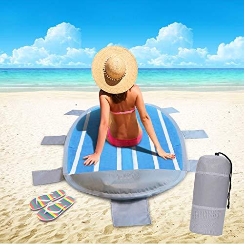 Tappetino da spiaggia, Idtap Tappetino da spiaggia impermeabile portatile con cuscino gonfiabile e 8 sacchi di sabbia, tappetino da spiaggia ad asciugatura rapida per le spiagge Camping Picnic Fishing
