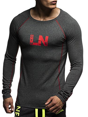 LEIF NELSON Gym Herren Fitness Sweatshirt T-Shirt Rundhals Langarm Trainingsshirt Training LN06303; Größe XL, Anthrazit-Rot (Shirt Langarm Training)