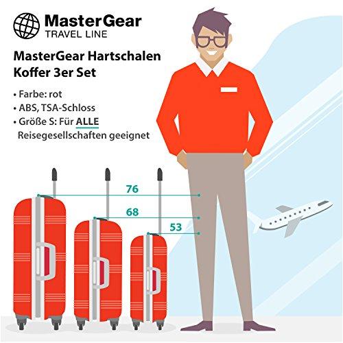 MasterGear Hartschalen Koffer 3er Set + 6 Kleidertaschen mit 4 Rollen, Trolley, Reisekoffer, ABS, TSA, rot