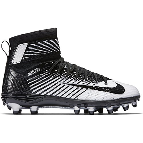 Nike , Herren American Football Schuhe schwarz Black/White/Metallic Silver/Black
