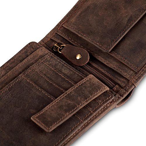 Geldbörse für Herren aus Leder mit 100% Zufriedenheitsgarantie | Geldbeutel / Portemonnaie in Geschenkbox | Geschenke für Männer | Wallet / Portmonee / Brieftasche im Querformat - BRAUN - 4