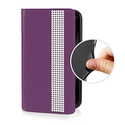 eSPee SZ3Bo055 Sony Xperia Z3 Schutzhülle Wallet Flip Case Violett Lila mit Strass Borte Silikon Bumper und Magnetverschluß für Sony Xperia Z3