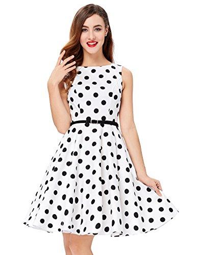 Vestido Blanco Algodón Precioso Rock Corsés Vintage Vestido Retro Vestido XXL 6#