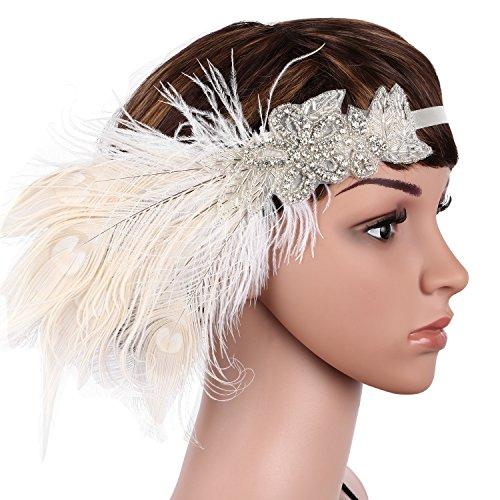 Babeyond Damen Stirnband Flapper 1920s Stil Stirnband mit weisser Pfau Feder Inspiriert von Der Große Gatsby Party Accessoires für Damen Einheitsgröße - 5