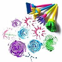 HENGSONG Mehrfarbig Strukturpinsel Rund, 4 Stück Kinderpinsel Malpinsel Set