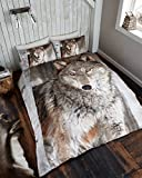 Hi Brands 3D WOLF Duvet Quilt Cover Bedding Set with Pillowcases (Double, Wolf)