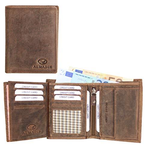 ALMADIH ® Portemonnaie Hochformat Premium Rindsleder - 17 Kartenfächer mit Geschenkbox (P2H DB-V) Leder Herren Börse Unisex Geldbörse Geldbeutel Portmonee Brieftasche braun Vintage (P2H Dunkelbraun)