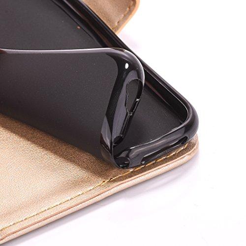 Uklayfe Book Style Design Portafoglio Custodia in pelle Cuoio Custodia Protettiva Portafoglio Flip Case Cover per iphone 6 Plus/6S Plus (5.5 pollice) con funzione di supporto e chiusura magnetica Con  Doro(con Fiore Campanula)