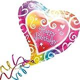 > > > Fertig Heliumbefüllt < < < Großer FolienballonHerz bunt Geburtstag Happy Birthday Ballon mit Helium/Ballongas gefüllt von Haus der Herzen®
