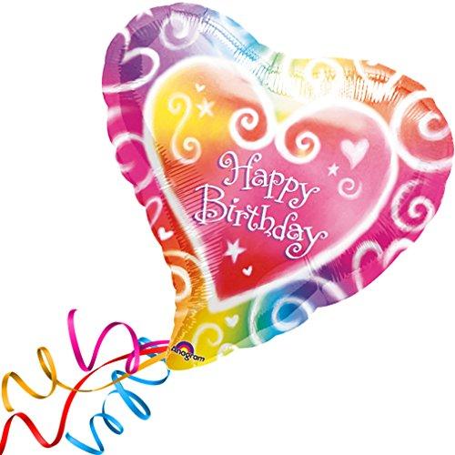 > > > Fertig Heliumbefüllt < < < Großer FolienballonHerz bunt Geburtstag Happy Birthday Ballon mit Helium/Ballongas gefüllt von Haus der Herzen® (Gefüllte Helium Ballons)