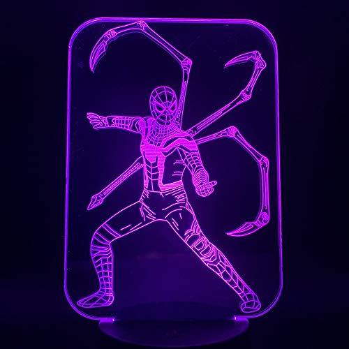 Tianyifengg 3D-LED-7 Farbe-Fernbedienung-Nachtlicht-Film Spinne Licht Nachtlicht schönes Geschenk an die Teenager am Bett Dekoration bunten Nachtsicht -