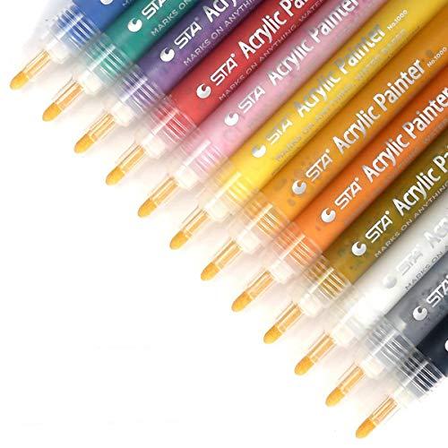 Rotuladores de pintura acrílica, punta mediana, marcadores para pintura de roca, diseño de taza, cerámica, cristal, metal, madera, tela, juego de 12 colores