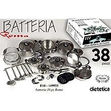 BATTERIA PENTOLE BAVARIA ROMA MC 38 PZ DIETETICA 18/10 PENTOLE PADELLE ACCESSORI CUCINA