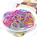 Westeng 100Pcs Girls Children Elastic Hair Ties Hair Bands Ponytail Holders Thin Multi-color Hair Elastics : everything 5 pounds (or less!)