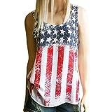 Frauen T-Shirt VENMO Drucken Amerikanische Flagge Ärmelloses Tank Ernte Tops Weste Bluse (M, Multicolor)