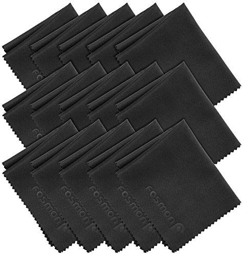 Fosmon Mikrofaser-Tuch/Brillenputztuch/Bildschirm-Reinigungstücher[FUSSELFREI][OPTIKER SPEZIALTUCH](15cmx17cm)(15er Set)Staubtuch/Glastuch/Putztuch/Fenstertuch/Mikrofaser-Tücher/Poliertücher - Schwarz