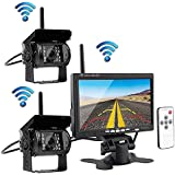 "Podofo® Wireless Vehicle 2 x Backup Cameras Parking Assistance System Ir Night Vision Waterproof Rearview Camera + 7"" Monitor for RV Truck Trailer Bus"