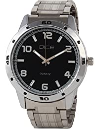 Dice Number 4204 Analogue Formal Round Shaped Wrist Watch for Men. Fitted with Black Dial, All Black Stainless Steel Body and Chain.