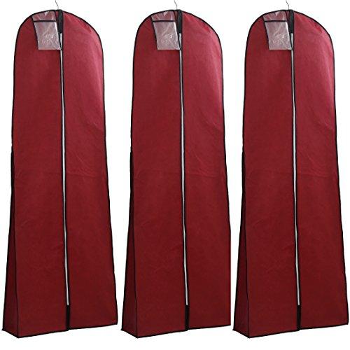 HIMRY [3er Set] Atmungsaktiver Kleidersack Schutzhülle für Brautkleider Abendkleider Anzüge Mäntel, ca. 180cm, Reissverschluss, TASCHE MIT REISSVERSCHLUSS für Zubehöre, Dunkelrot KXB103 Darkred-3x (Taschen 180)